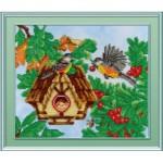 Набор для вышивания Габардин +бисер МП Студия арт БГ-239 Скворечник, желтый домик 23*28
