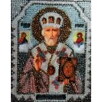 Набор для вышивания хрустальными бусинами ОБРАЗА В КАМЕНЬЯХ арт. 7704 Николай Чудотворец 18,4х22,8 см