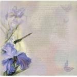 Бумага для скрапбукинга акварельные цветы арт.CP01241 ирис 30х28,5см 160грм одностор