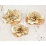 Бумажные цветы Prima арт.571054 Perdu Бежевые 3 шт 2,5-7см