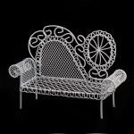Кровать мини арт. SCB27036 металл 13,5х4х10см с ажурной спинкой белая