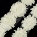 Лента с розами тканевыми КРЕМОВАЯ арт.SCB 0714116 шир.7 см по 90 см