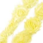 Лента с розами тканевыми ЖЕЛТАЯ арт.SCB 0714316 шир.7 см по 90 см