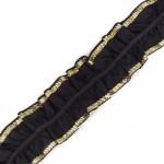 Лента Рюш траурная арт.с3416г17т4 рис.8663 шир.40 мм цв. черныйзолото уп.10м