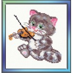 Набор для вышивания арт.ЧИ-15-06 (Д-043) СР Котёнок-музыкант 11х11см