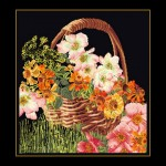 Набор для вышивания арт.Gouverneur-3064.05 Корзина с цветами Черная канва 17х42 см