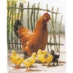 Набор для вышивания арт.LANARTE-144535 Курица с цыплятами