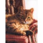 Набор для вышивания арт.LANARTE-146177 Отдыхающий полосатый кот