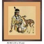 Набор для вышивания арт.Овен - 061 СР Девушка и олень 18x18 см