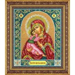 Набор для вышивания бисером Паутинка арт.Б1014 Богородица Владимирская 28х22 см