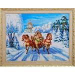 Набор для вышивания бисером Золотые Ручки арт. ЛМ-004 Тройка 61x45 см