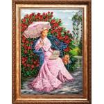 Набор для вышивания бисером Золотые Ручки арт. ВВ-002 В розовом саду 47x65 см