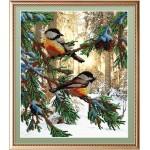 Набор для вышивания Габардин +бисер МП Студия арт БГ-233 Птички в лесу 28*23