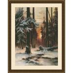 Набор для вышивания Юнона арт.0207 Закат в зимнем лесу 23х31см