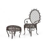 Набор мебели арт. SCB27001 металлические столик и стульчик коричневые