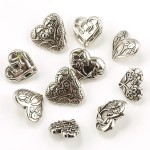 Набор пуговиц JESSE JAMES арт. 14 ASSORTED ITEMS-HEARTS ASST SILVER