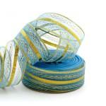Подарочная лента арт. Р 8216 шир. 25мм цв. голубойзолото уп.25м
