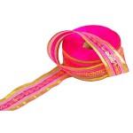 Подарочная лента арт. Р 8255 шир. 25мм цв. ярк. розовоезолото уп.25м