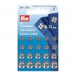 PR.341270 PRYM Пришивные кнопки с отверстием дфиксации 6-11мм латунь нержавеющие отбортованная нижняя часть цв. серебристый уп.20шт