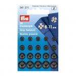 PR.341271 PRYM Пришивные кнопки с отверстием дфиксации 6-11мм латунь нержавеющие отбортованная нижняя часть цв. черный уп.20шт