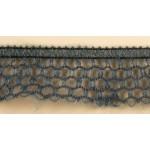 Тесьма-рюш паутинка арт.TBX.#008В односторонняя на резинке шир.30мм цв.серый уп.45,7м
