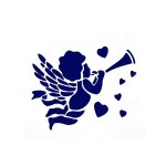 Трафарет с шелковыми вставками арт.IPT-132 Амур с флейтой 12х17см