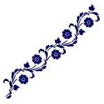 Трафарет с шелковыми вставками арт.IPT-212 Круглые цветочки с листочками 9х30см