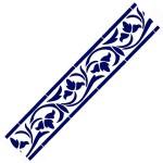 Трафарет с шелковыми вставками арт.IPT-214 Орнамент с листочками 9х30см