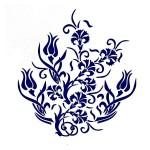 Трафарет с шелковыми вставками арт.IPT-361 Куст гвоздики 21х22см