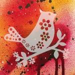 Трафарет-силуэт Marabu арт.28700009 цв.009 птица с цветочками 15*15 см