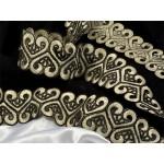 Кружево венецианское арт.TBY.ZX142 40мм цв.золото/черный рул.9.14м