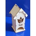 Деревянная заготовка Чайный домик средний Чайный лист 9х9х18 см