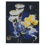 Набор алмазной живописи с подрамником 'Алмазная вышивка' арт.СК-640(П) 'Бокалы и розы' 40х50 см