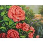Набор для вышивания Габардин +бисер МП Студия арт БГ-231 Красные розы 23*28