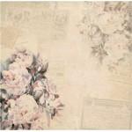 Бумага для скрапбукинга акварельные цветы арт.CP01289 винтажные пионы 30х28,5см 160грм одностор