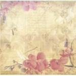 Бумага для скрапбукинга акварельные цветы арт.CP01326 орхидеи 30х28,5см 160грм одностор