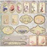 Бумага для скрапбукинга акварельные цветы арт.CP01333 теги 30х28,5см 160грм одностор