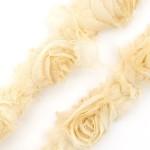 Лента с розами тканевыми БЕЖЕВАЯ арт.SCB 0714516 шир.7 см по 90 см