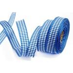 Лента шотландка 15мм арт. С3723Г17 рис 9262 цв. синийбелый уп. 25м
