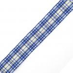 Лента шотландка с метанитом 30мм арт. С3301Г17 рис 9280 цв. синий в ассортим уп. 25м