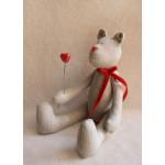 Набор для изготовления текстильной игрушки 29см Bear`s Story арт.В001, Мишка 100% лен, Ваниль