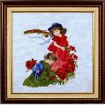 Набор для вышивания Алисена арт.1032-1 Девочки в маках 27*31 см салатовый