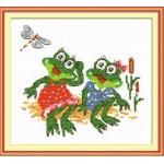 Набор для вышивания арт.ЧИ-18-31 (Д-101) Лягушки-подружки 14х14см