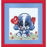 Набор для вышивания арт.Овен - 044 СР Собачка с сердцем 11x11 см