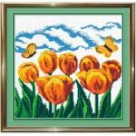 Набор для вышивания бисером МП Студия арт.БК-19 Б Желтые тюльпаны 27*27