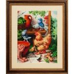 Набор для вышивания бисером Золотые Ручки арт. ЛМ-006 Птичий дворик