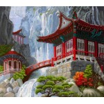 Набор для вышивания Сделай своими руками арт.ССР.В-12 Водопад и пагода 40х35 см
