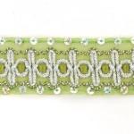 Тесьма с пайетками TBY арт.TH182 шир.38мм цв.131 зеленый уп.18,28м