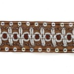 Тесьма с пайетками TBY арт.TH182 шир.38мм цв.32 коричневый уп.18,28м