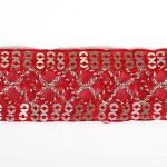Тесьма с пайетками TBY арт.TH216 шир.25мм цв.26 красный уп.18,28м